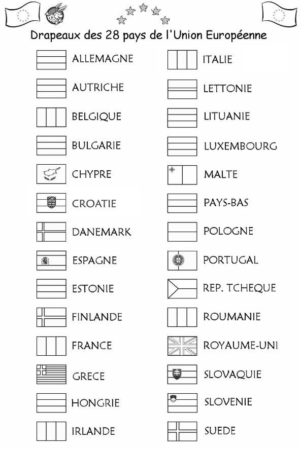 Les drapeaux des 28 pays de l'union européenne à colorier